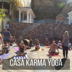 Barbara Crompton teaching yoga at Casa Karma, Mexico